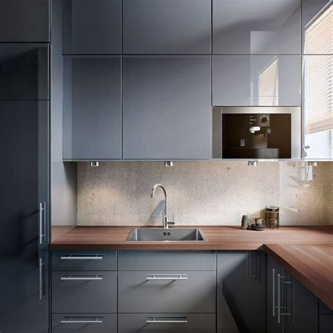 inspiration cuisine ikea faktum kitchen with abstrakt grey high gloss doors drawers