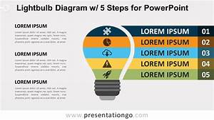 Light Bulb Diagram With 5 Steps For Powerpoint