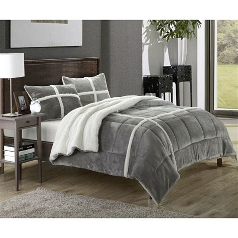 Sherpa Lined Comforter - chic home chiron sherpa lined plush microsuede 3