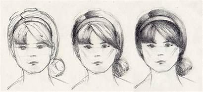 Hairstyles Bangs Draw Drawing Headband Woman Hairstyle