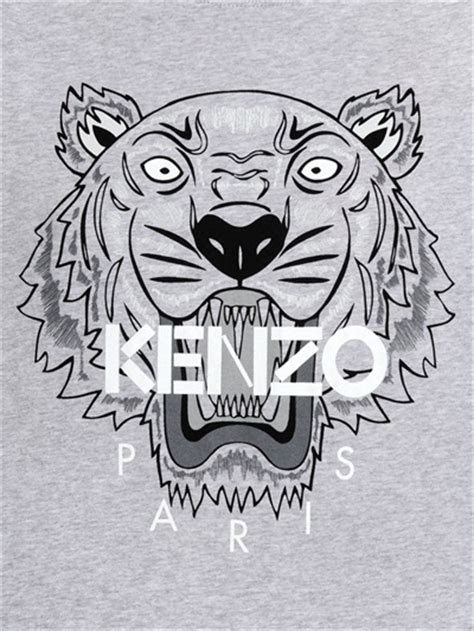 lyst kenzo tiger printed cotton jersey  shirt  gray