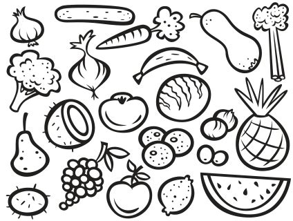 fruit  vegetable drawing  getdrawingscom