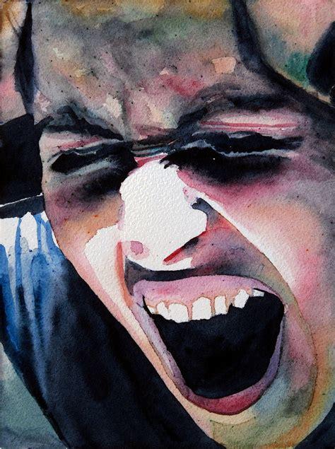 schrei der verzweiflung aquarellmalerei portrait angst