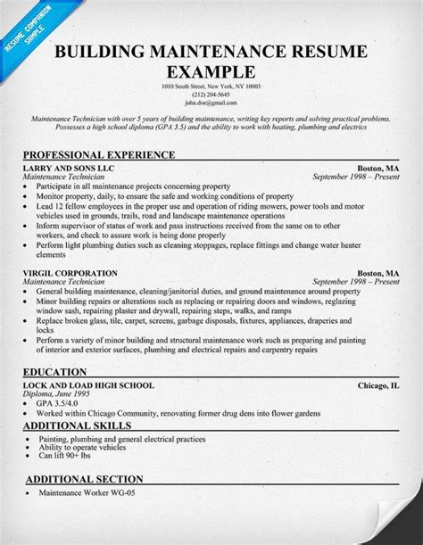 #building Maintenance Resume Sample (resumecompanioncom. Cover Letter Writing Service Melbourne. Sample Excuse Letter For Being Absent In School Due To Cough And Colds. Resume Templates Word Computer Programmer. Cover Letter Vs Resume. Help In Cover Letter. Resume Font Size. Basic Cover Letter With No Experience. Letter Of Intent Sample Proposal