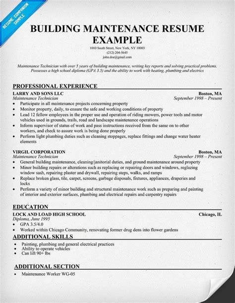 building maintenance resume sample resumecompanioncom