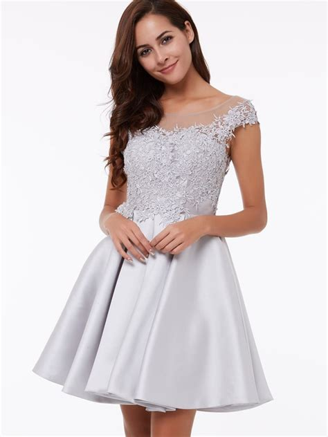 cap sleeves   scoop appliques lace short homecoming