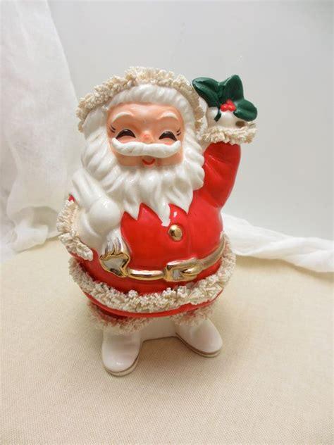 cheerful vintage ceramic santa bank  spaghetti trim