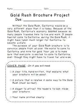 california gold rush brochure persuasive writing project