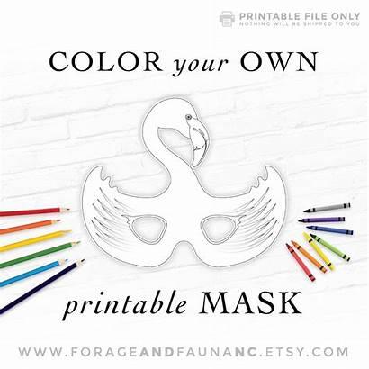 Mask Coloring Printable Bird Activity Flamingo Halloween
