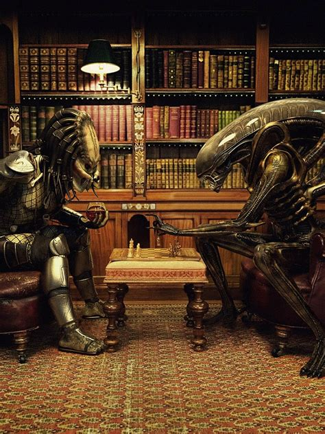 funhumor alien  predator playing chess ipad iphone