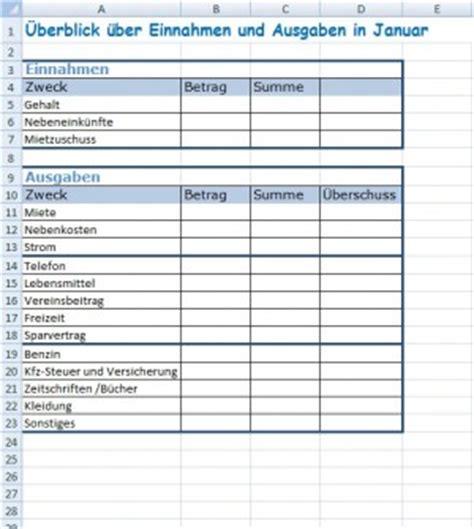 haushaltsbuch erstellen office lernencom