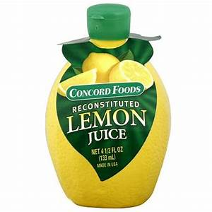 Lemon juice from concentrate, bottled, CONCORD Facts -In ...