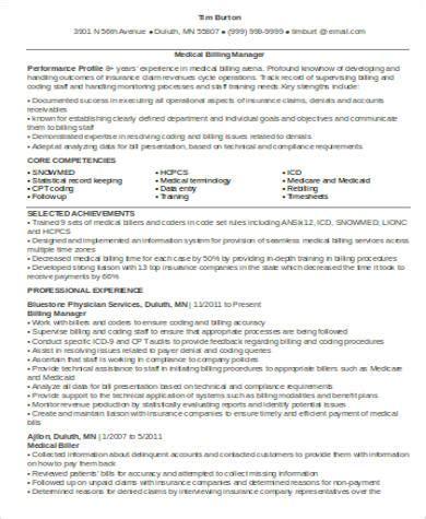 sample medical billing resume templates  ms word