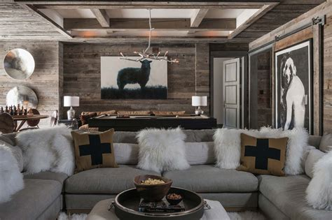 modern rustic home interior design ski in ski out chalet in montana with rustic modern