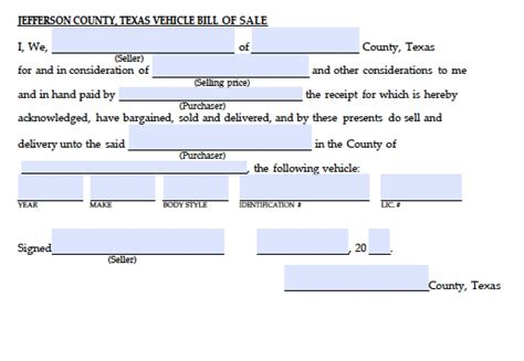 bill of sale form texas pdf free jefferson county texas vehicle bill of sale form