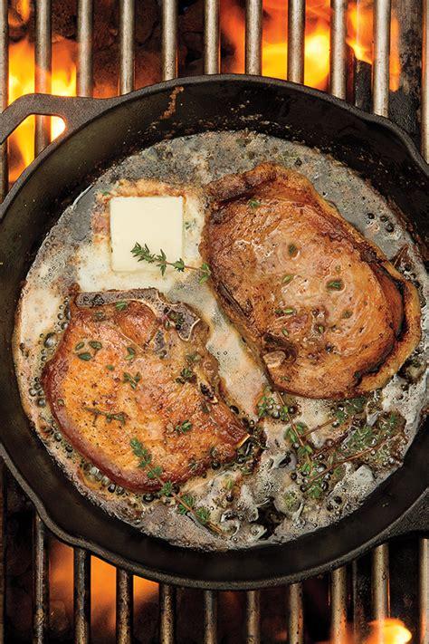 cast iron skillet grilled thyme pork chop recipe pork