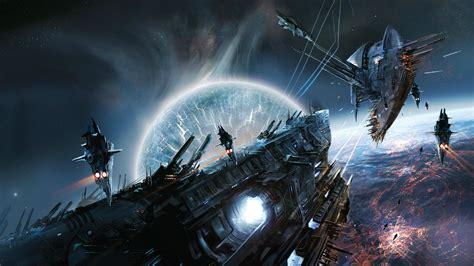 wallpaper battle spaceship battlecruiser energy explosion