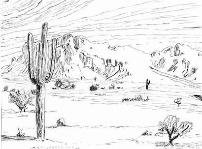 Desert Drawing Scene Arctic Landscape Drawings Coloring