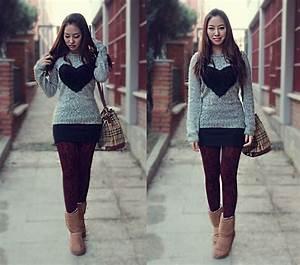 Minjung Kim - Bershka Knit Hu0026M Miniskirt Black Ugg Boots Burberry Bag - Love Love Love ...