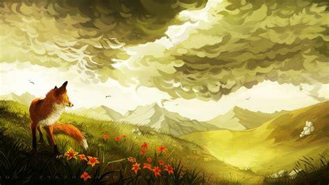 fox artwork landscape wallpapers hd desktop  mobile
