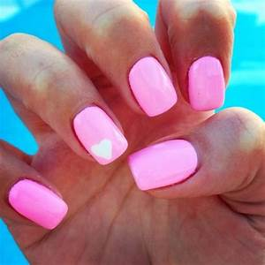 Pink nails with white heart! Cute summer nails for surrrre ...