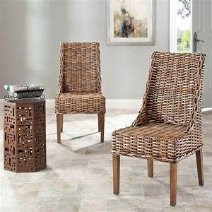 Safavieh suncoast brown rattan mango wood side chair for Suncoast furniture and mattress outlet