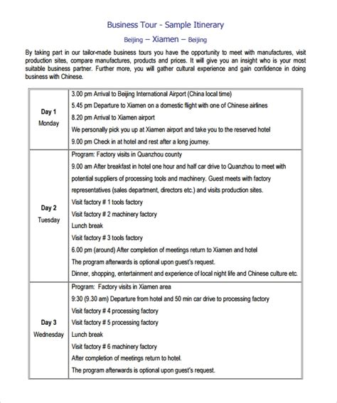 itinerary templates sample templates