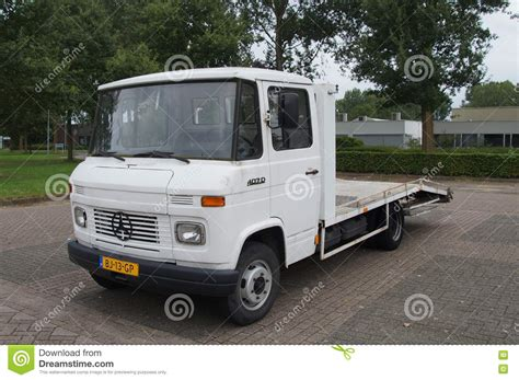 mercedes truck white white mercedes benz l 407 d car trailer truck editorial
