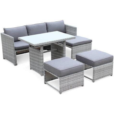 salon de jardin canapé salon de jardin reggiano en résine tressée arrondie grise