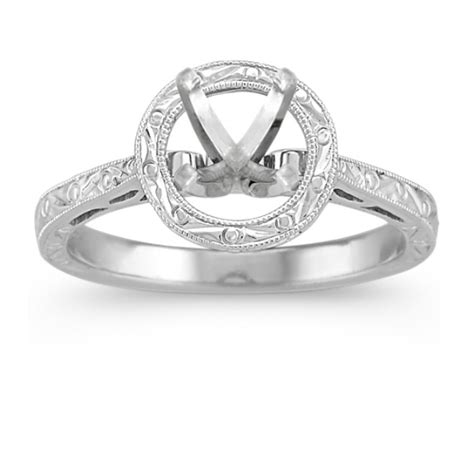engraved round halo engagement ring in 14k white gold at