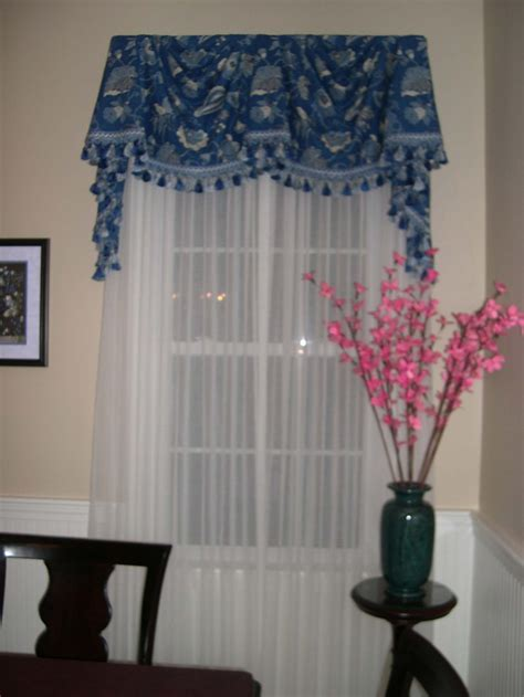 Board Mounted Federal Style Valance with sheers..   Window