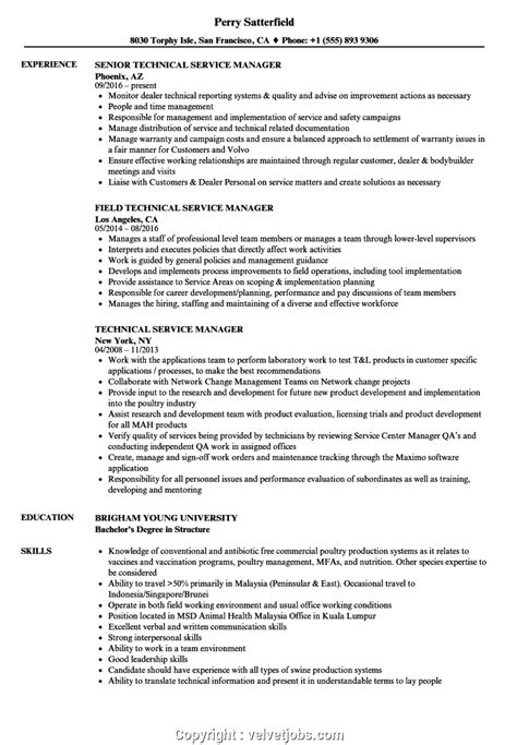 Technical Cv by Simply Technical Services Manager Resume Technical Service
