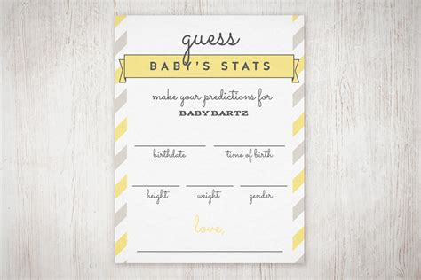 10 Printable Index Cards Baby Baby Shower Quot Guess The Stats Quot Free Printable The