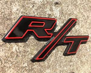 Red Trim Black R/T RT Side Trunk Lid Emblem Dodge ...