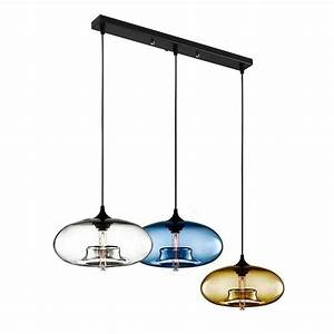 Lampe Suspendue Cuisine : lustre 3 lampes suspesnion en verre moderne lampe ~ Edinachiropracticcenter.com Idées de Décoration