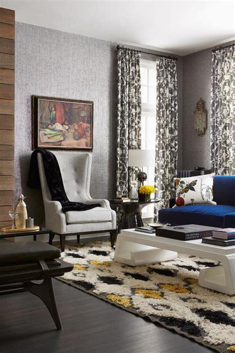 eclectic living room  gray white  yellow hgtv