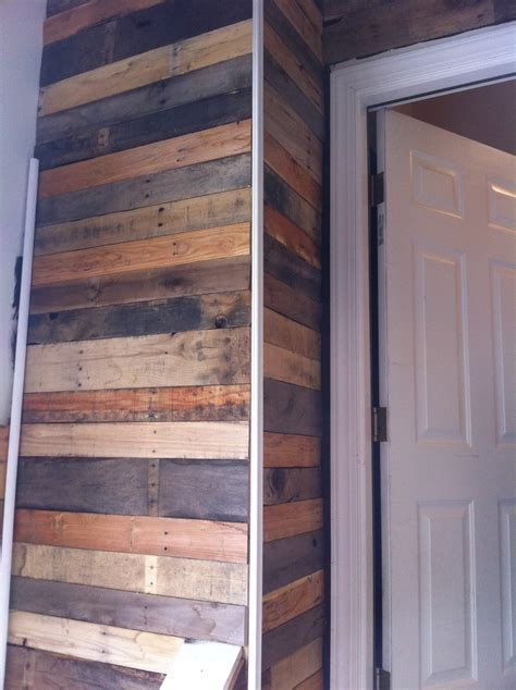 Heres The Corner Of My Wood Pallet Wall With The Trim