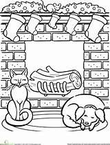 Coloring Fireplace Worksheet Stockings Noel Holiday Printables Worksheets Grade Education Dessin Contest Math Printable Sheets Coloriage Activities Drawing 4th Dog sketch template