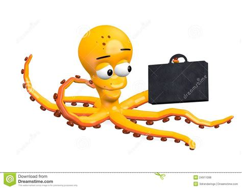 octopus character  suitcase stock illustration image