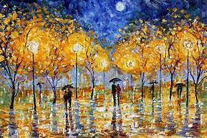 Original oil painting Night Moon Romance Rain Landscape