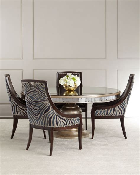 mirrored dining table set john richard collection markham leather dining chair