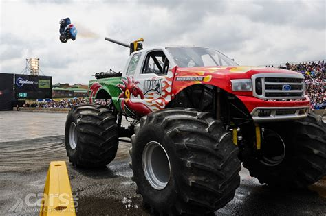 when is the monster truck red dragon ford 350 monster truck joins top gear live video