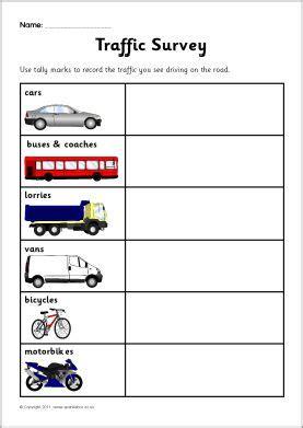 traffic survey worksheet sb sparklebox