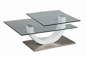 Table Basse Blanche Et Verre : table basse en verre et laque blanche 1 plateau pivotant ~ Teatrodelosmanantiales.com Idées de Décoration