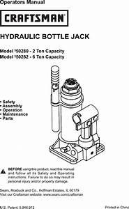 Craftsman 2 Ton Hydraulic Jack Owners Manual 50280 82 2007 Pmd