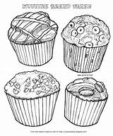 Coloring Muffins Muffin Baked Fresh Blueberry Chocolate Cinnamon Bakery Chip Types Four Description sketch template