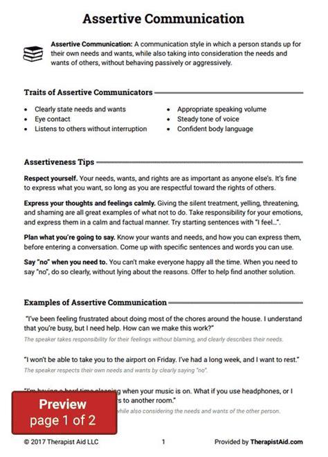 Assertive Communication Worksheet Therapist Aid