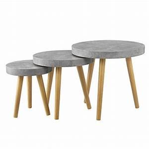 Table D Appoint Salon : table de salon kit de 3 b ton gris table d 39 appoint table salon ~ Melissatoandfro.com Idées de Décoration