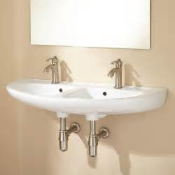 Wall Mounted Bathroom Faucet Height by Cassin Double Bowl Wall Mount Bathroom Sink Ebay