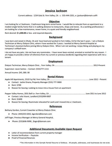 Rental Resume rental resume template sflife in 2019 resume sle